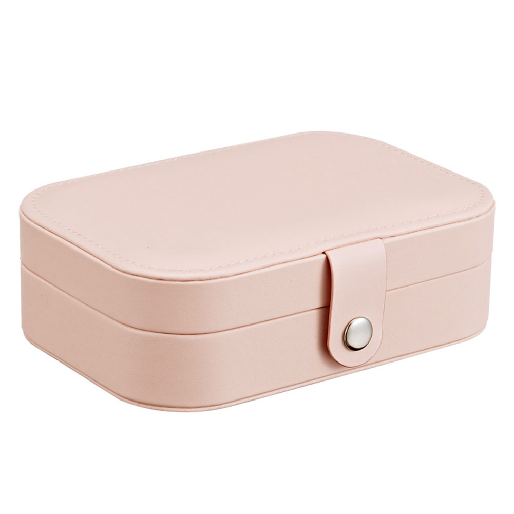 Simple Multifunction Jewelry Box for Earrings Ring Ear Stud Storage Cherry pink_16.5*11.5*5.5cm
