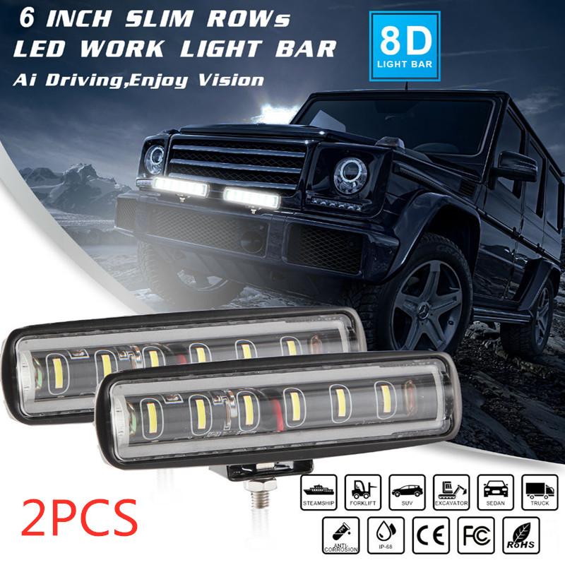 90W 6Inch Convex Lens 6LED Working Light 12V/24V 4x4 Automobile LED Light Bar White light