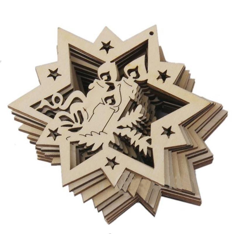 10Pcs/Pack Creative Wooden Christmas Pentagram Small Pendant Perfect Decoration for Christmas 8 * 8 * 0.3cm