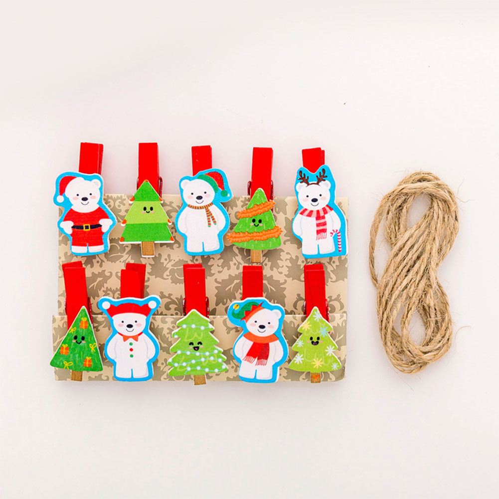 10Pcs/bag 3.5cm Christmas Wooden Photo Clips Colorful Cute Cartoon Clothespins with Rope snowman