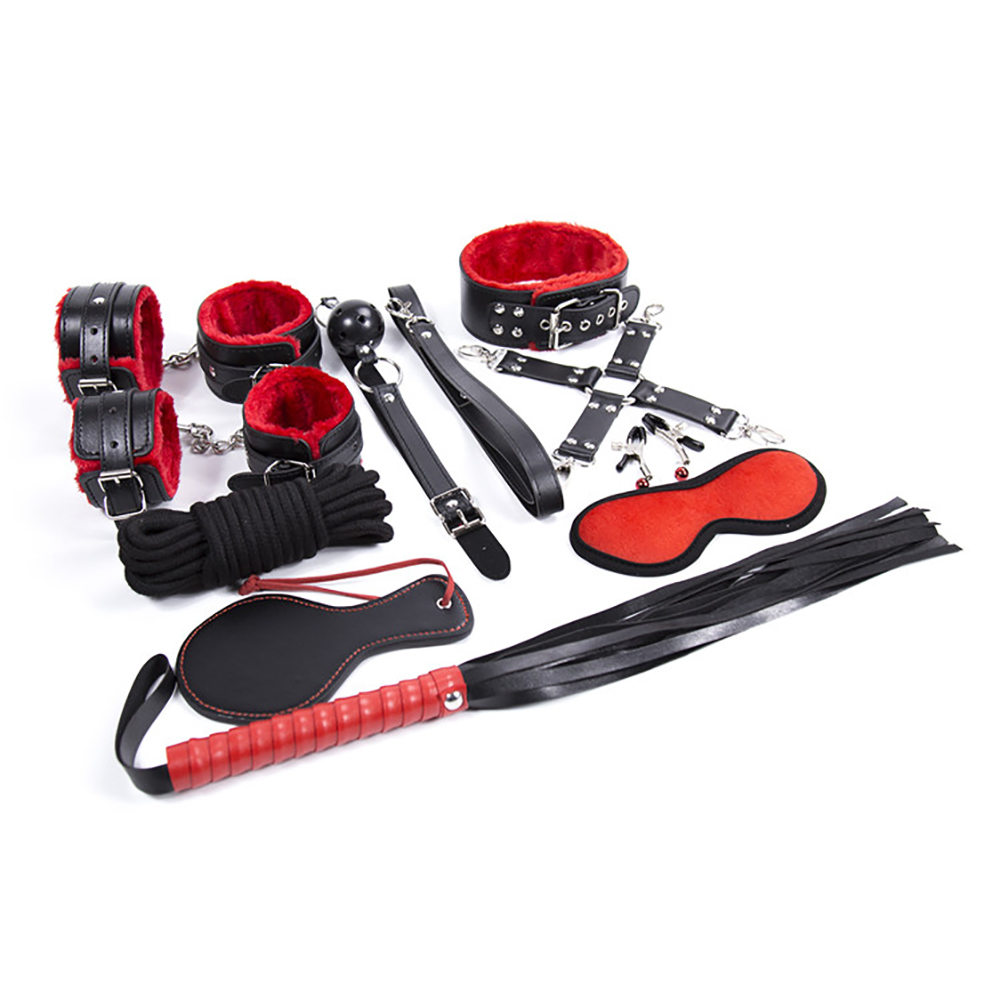 10pcs/Set Leather Red-Black Leather Plush BSDM Bed Bondage Handcuffs Ankle Cuff Set Adult SM Sex Toy Kit for Couples 10 pcs/set - 5 meters rope