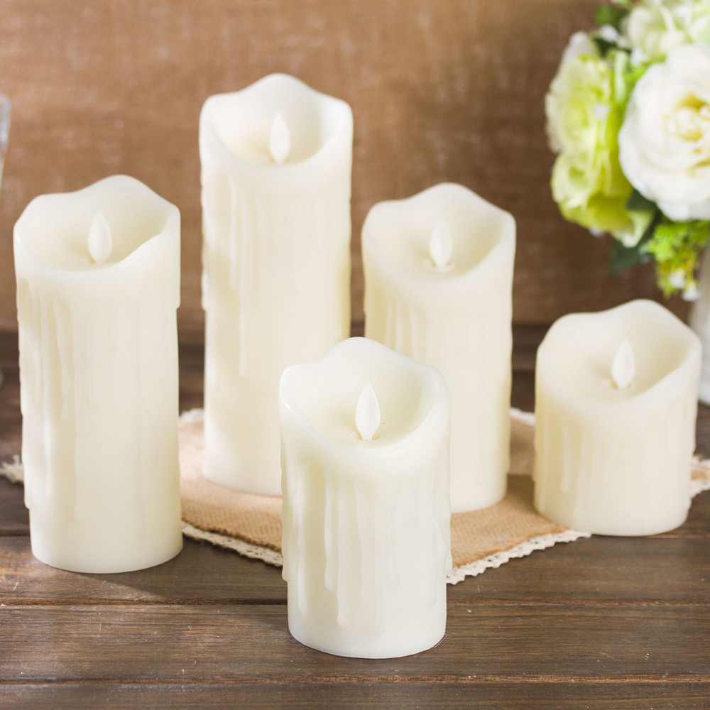 LED Simulate Flameless Electric Candle for Home Wedding Decor Warm Yellow Light 7.5x20cm