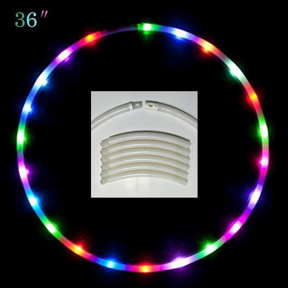 LED Hula Ring 8 Parts Detachable Collapsable Light Colorful Night Light for Dancing Stage Props 24 LEDs diameter 90cm
