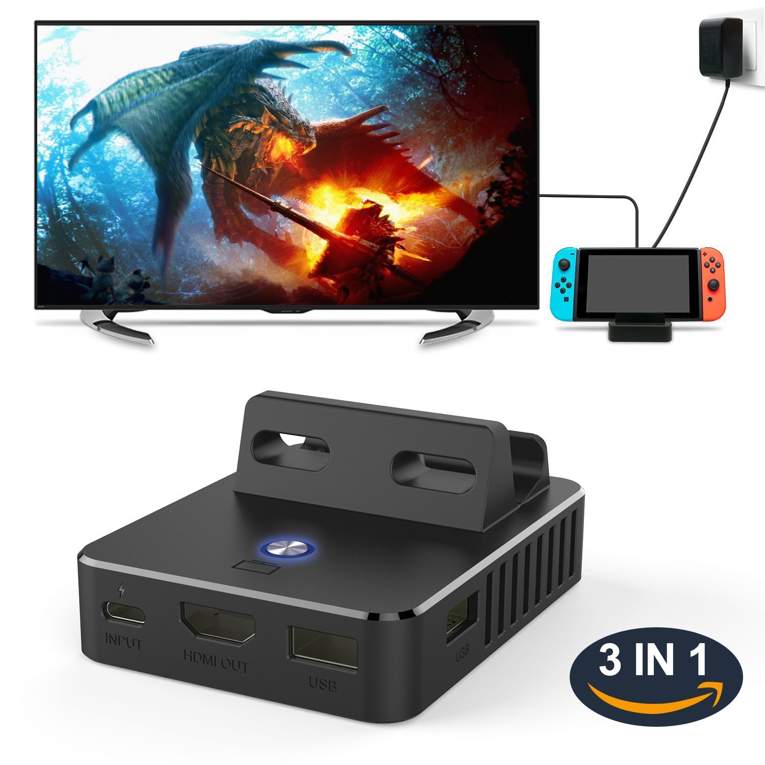 For Nintend Switch Dock Base TV Type C Output Charging Stand Switch Cooling Portable Bracket One-button Display Adapter black