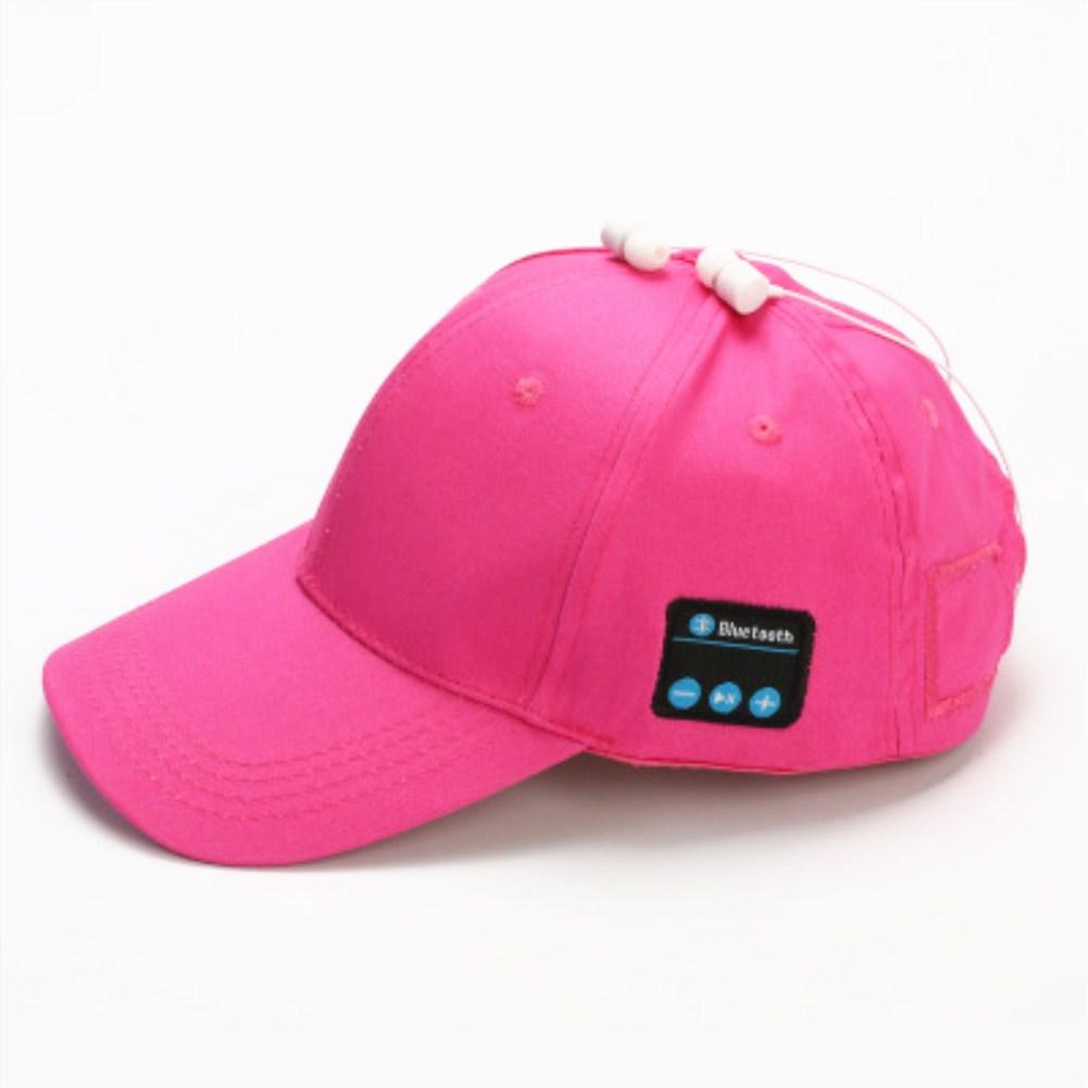 Wireless Bluetooth Earphones Sport Music Cal Baseball Cap Ourdoor Headset rose Red