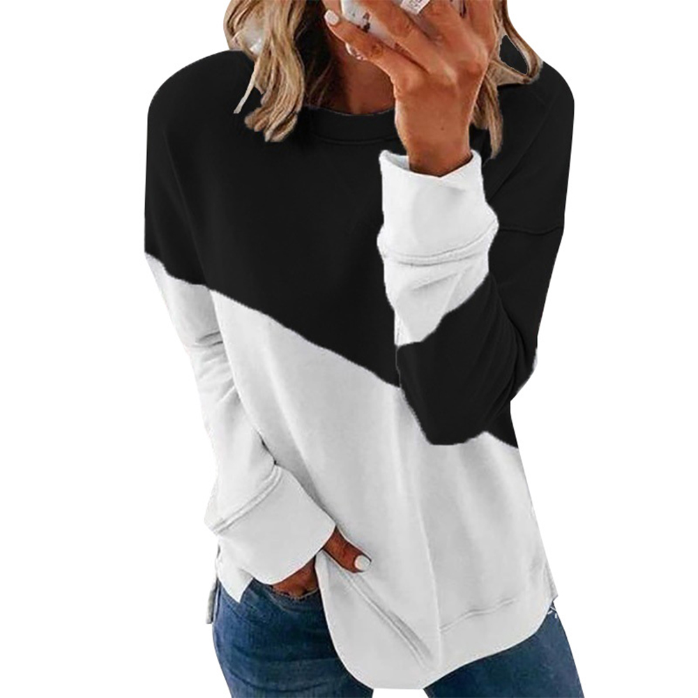 Women's Hoodie Autumn Casual Crew-neck Contrast Stitching Loose Hooded Sweater black_L