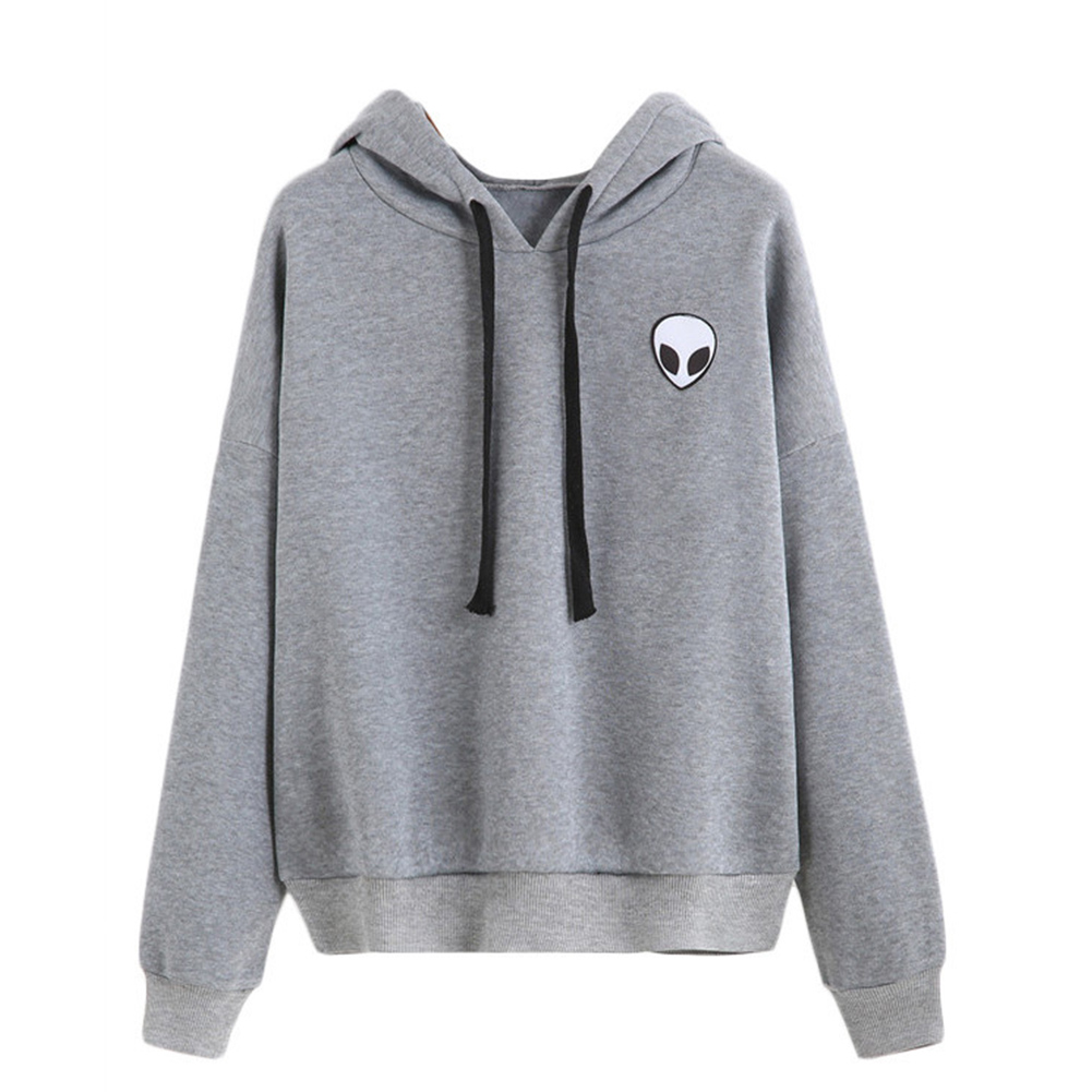 Autumn Unisex Exquisite Embroider Pattern Pure Color Plush Pullover Hoodies gray_M