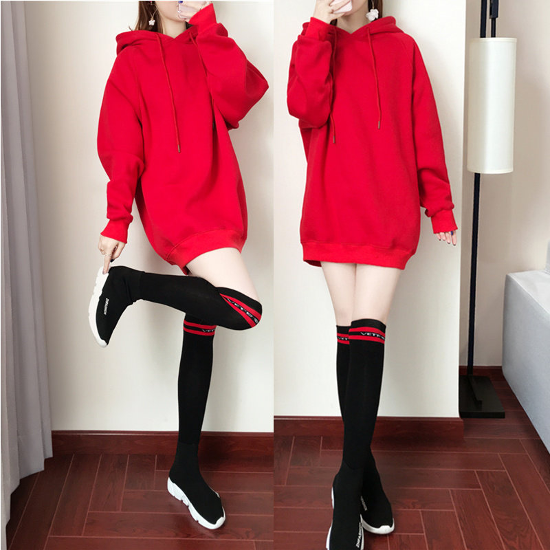 Autumn Winter Lady Middle Long Hoodie Thicken Solid Color Over Size Loose Sweatshirt red_2XL