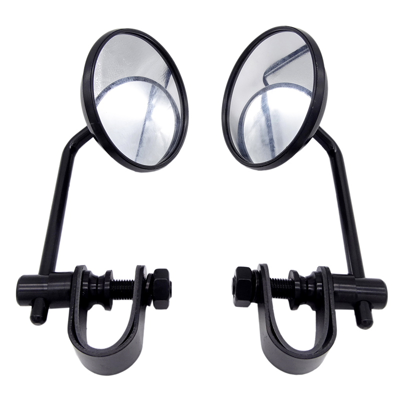 1 Pair Universal 8mm Stainless Steel Motorcycle Back View Mirror Classic Retro Vintage Round Rearview Mirror black