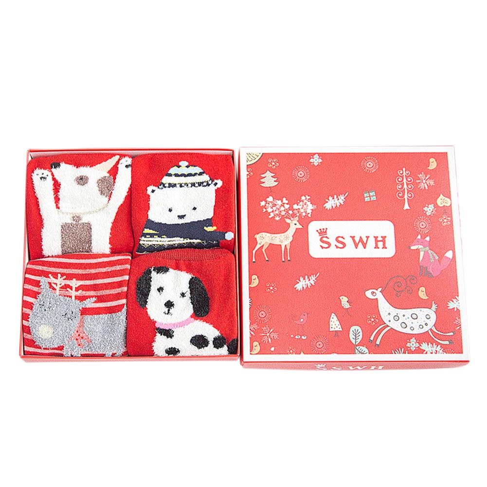 4Pairs/Set Women Cute Cartoon Christmas Patterns Socks for Autumn Winter Cotton Socks