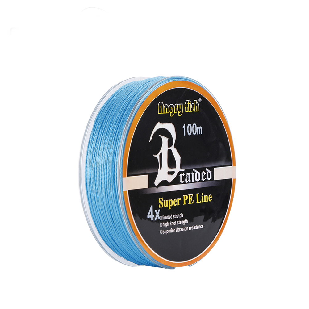 ANGRYFISH Diominate PE Line 4 Strands Braided 100m/109yds Super Strong Fishing Line 10LB-80LB Blue 5.0#: 0.37mm/50LB