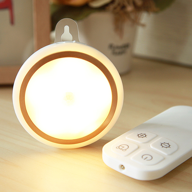 Battery Version Remote Control LED Night Lamp Bed Light Home Office Decoration Golden ring warm white light