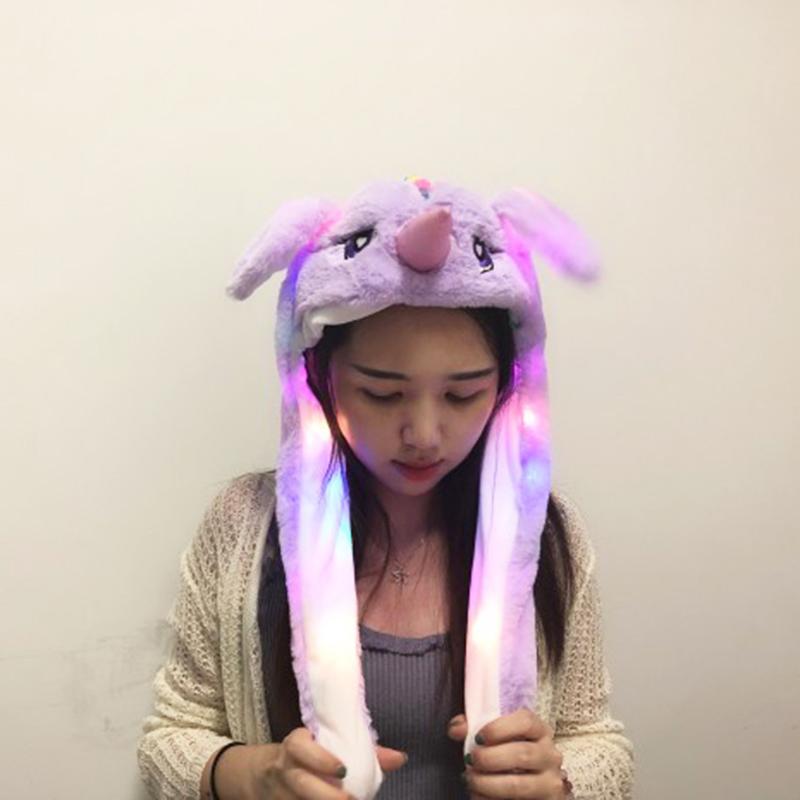 Cute Jumping Animal Ears Cap Lighting Air Bladder Cap Light purple +lights