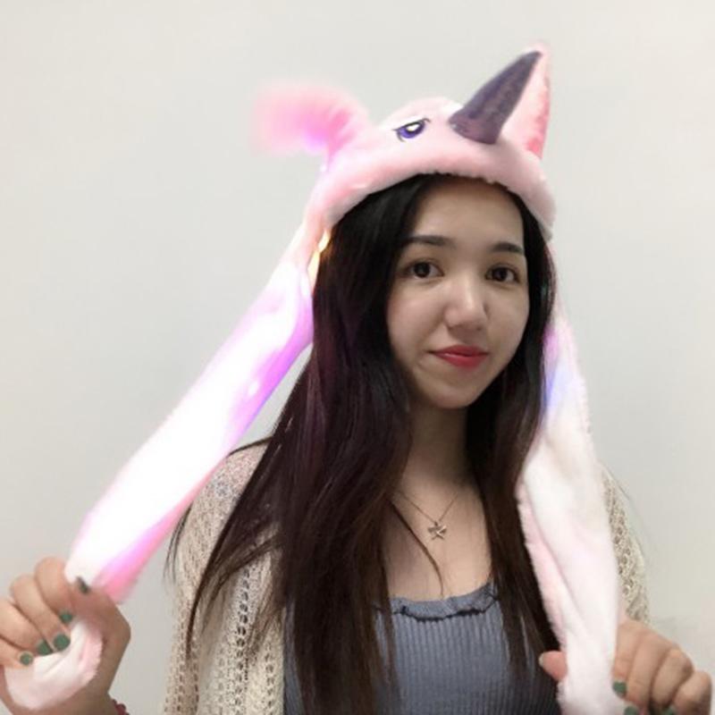 Cute Jumping Animal Ears Cap Lighting Air Bladder Cap Light pink +lights