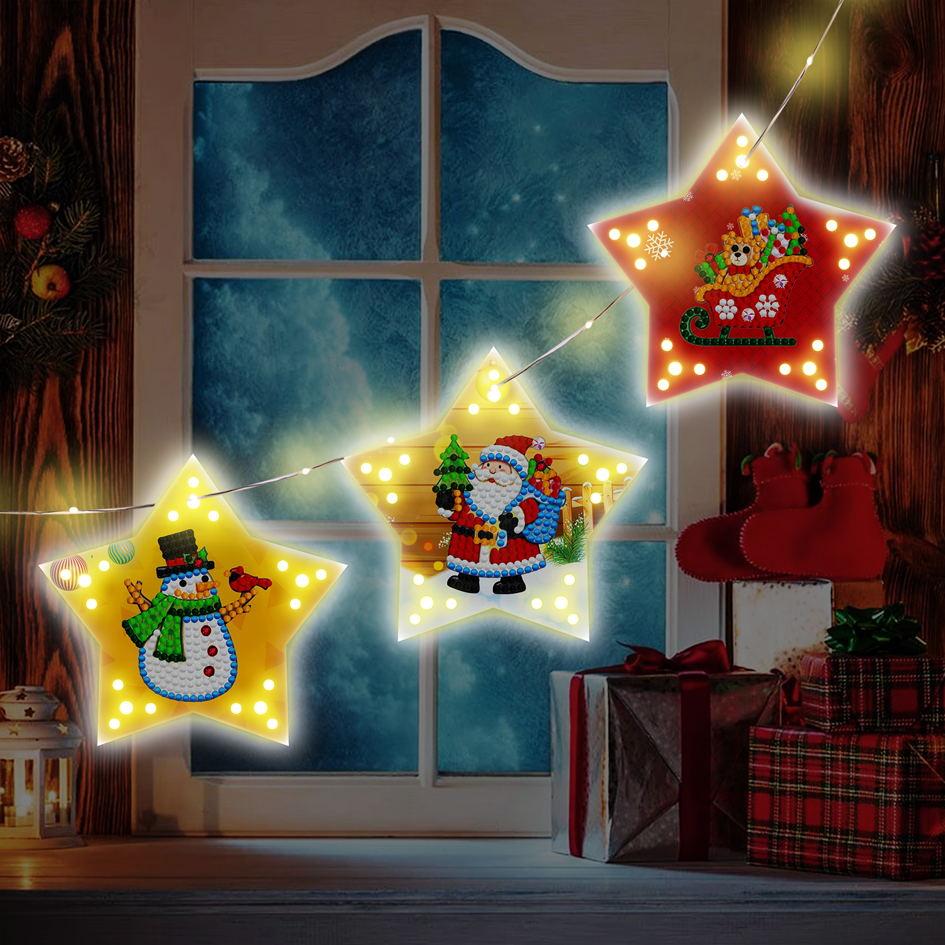 Christmas Diy Diamond Painting Christmas Tree Pendant  Decoration With Light String GSD03
