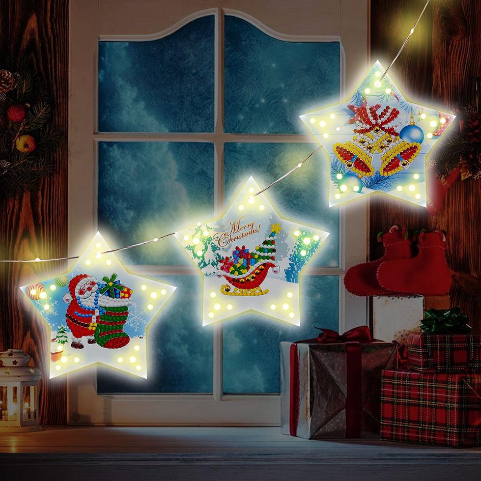 Christmas Diy Diamond Painting Christmas Tree Pendant  Decoration With Light String GSD02