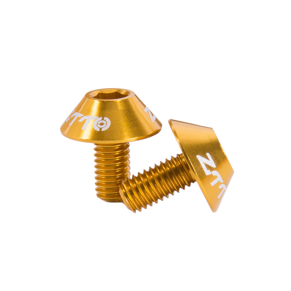 ZTTO Bicycle M5*10 Aluminium Alloy Screw Mountainous Bicycle Kettle Rack Bicycle Rack Screw Equipment Golden_One size
