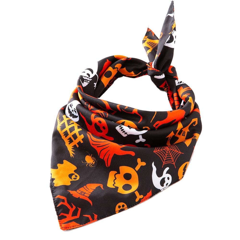 Halloween Series Printing Triangular Scarf for Pet Dogs Wear 03 black Halloween