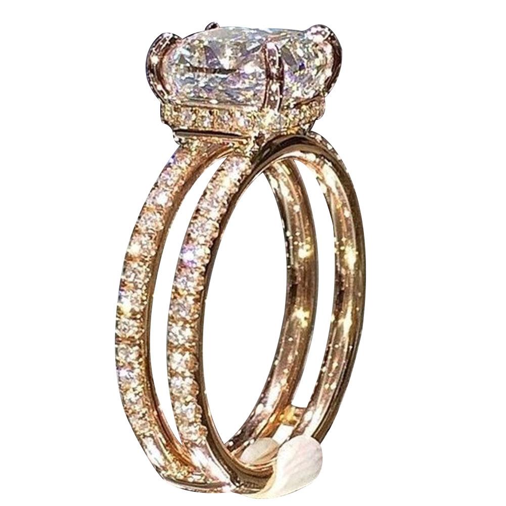 Women Double Circle Crown Ring Diamond Princess Engagement Ring