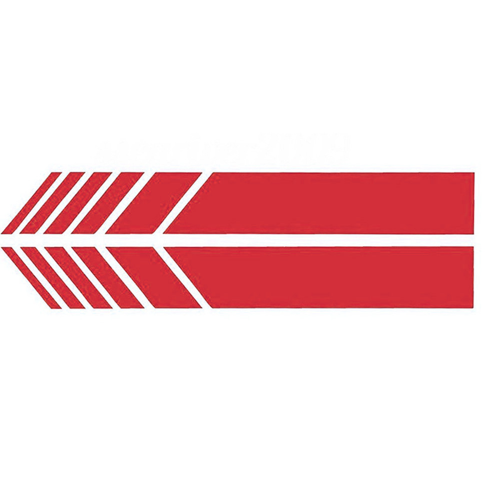 Pair Reflective Simple Design Geometric Shape Long Rear View Mirror Sticker Patch Decals Red