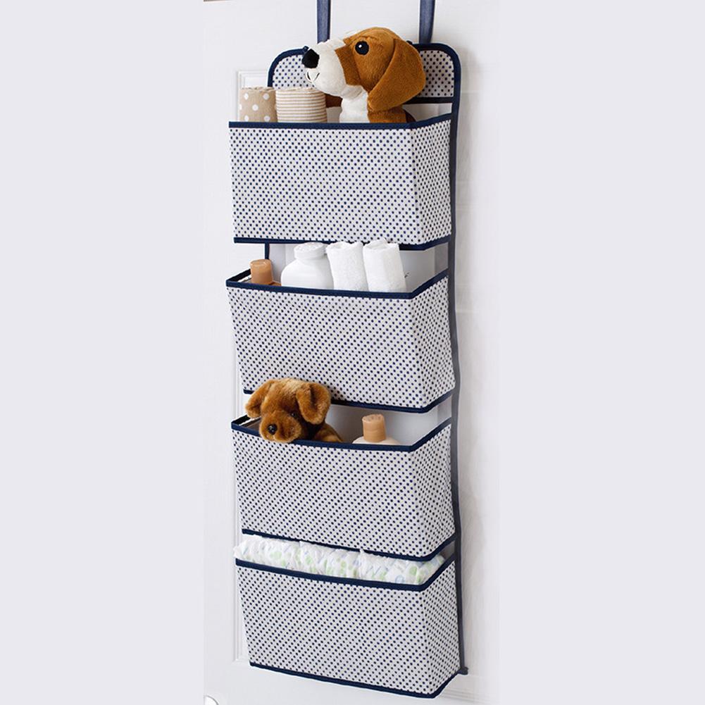 Non Woven Storage Bag Hanging Closet Organizer for Wardrobe Door Clothes Storage Shoes Organiser  Blue dots