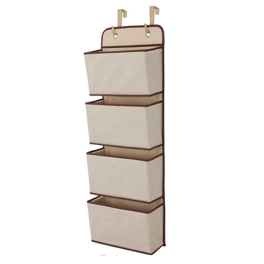 Non Woven Storage Bag Hanging Closet Organizer for Wardrobe Door Clothes Storage Shoes Organiser  cream color
