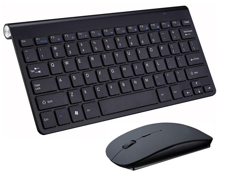 2.4G Wireless Keyboard Mouse Set Mini Multimedia Keyboard Mouse Combo Set for Notebook Laptop Mac Desktop PC  black