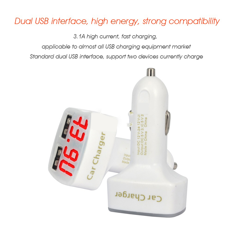 DC 5V 3.1A 4 in 1 LED Digital Voltmeter Ammeter Thermometer Dual USB Universal Car Charger Voltage Current Temperature Meter White red light