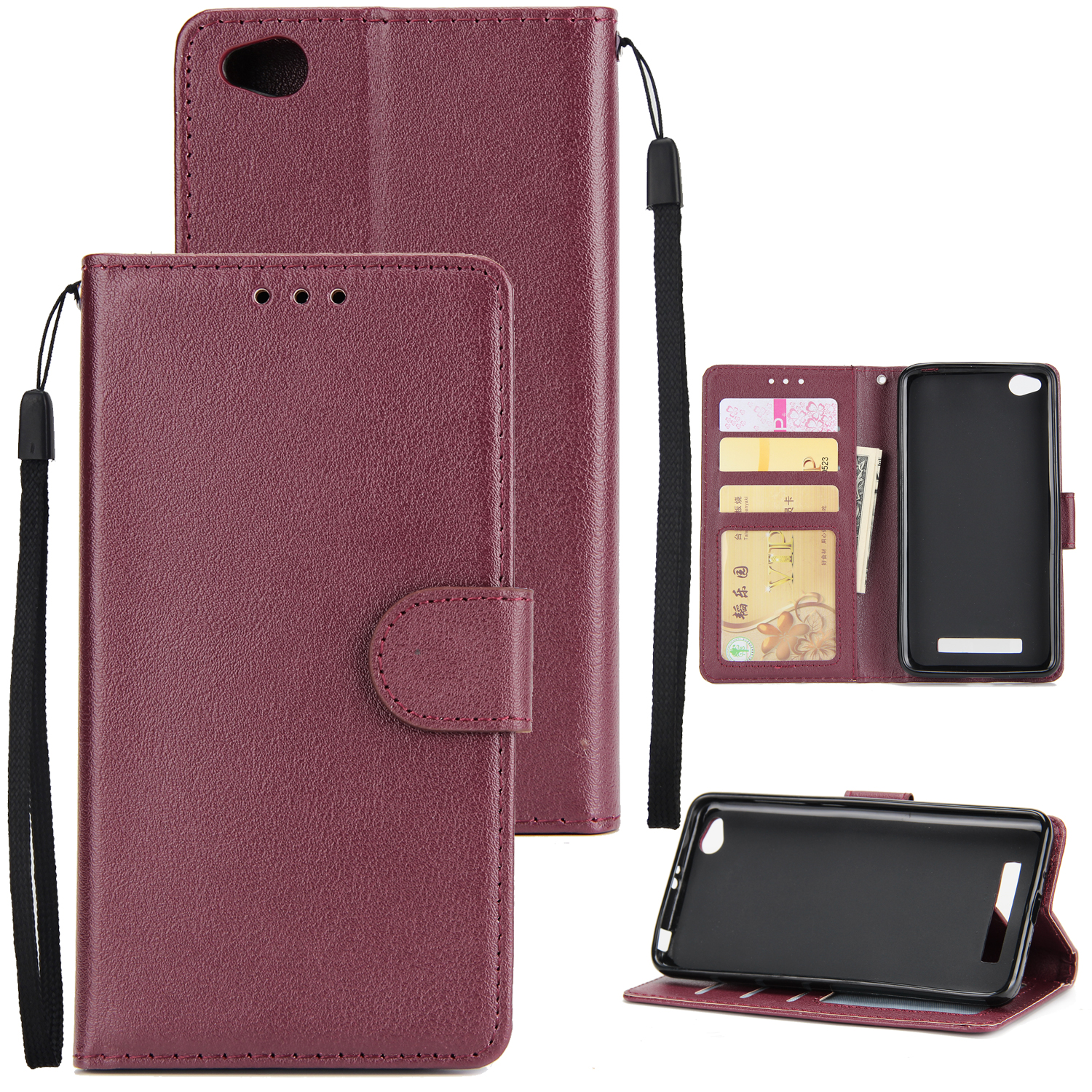 Ultra Slim Shockproof Full Protective Case with Card Wallet Slot for Xiaomi Redmi 4A Red wine