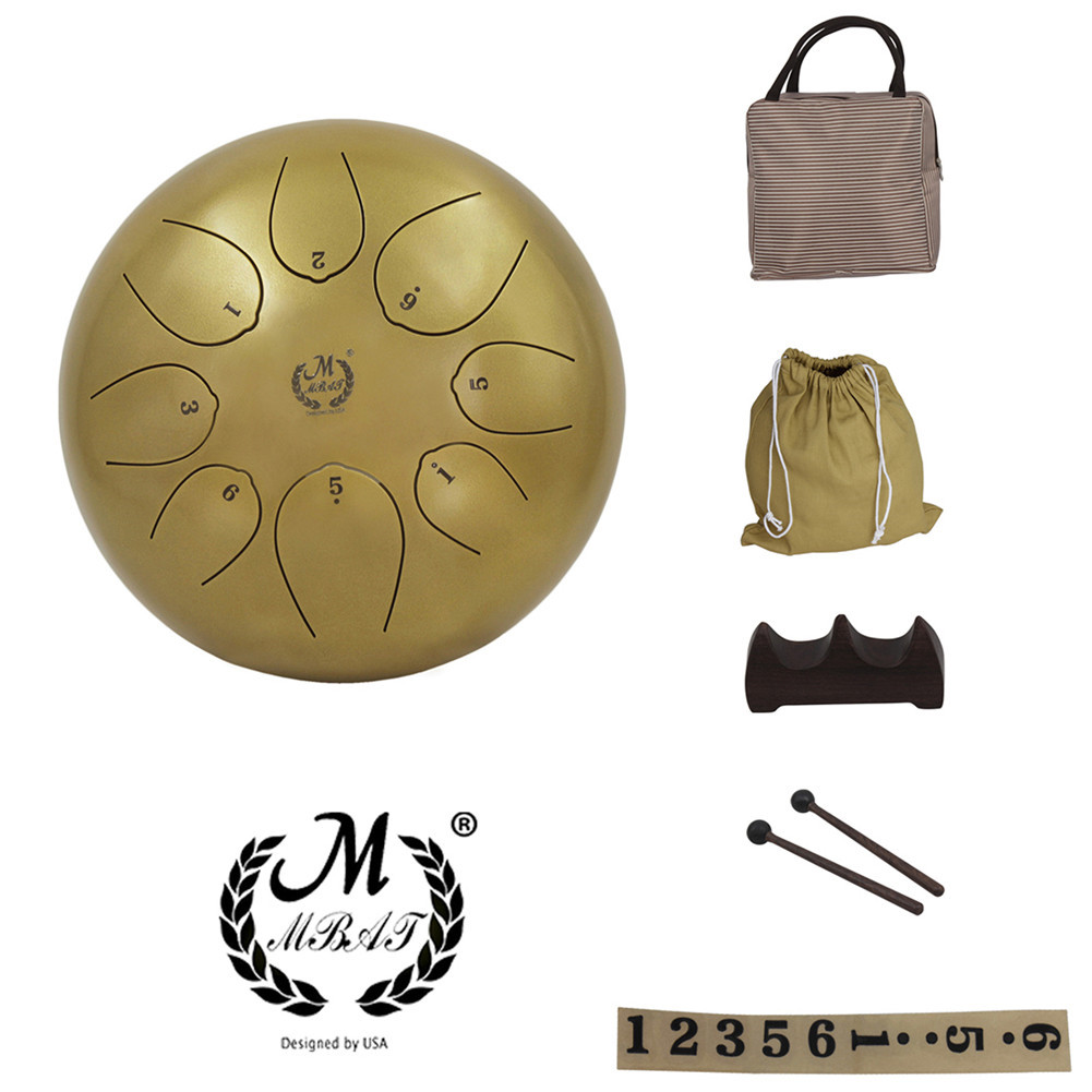 10 inches Steel Tongue Drum Percussion Instrument 8 Notes  Golden