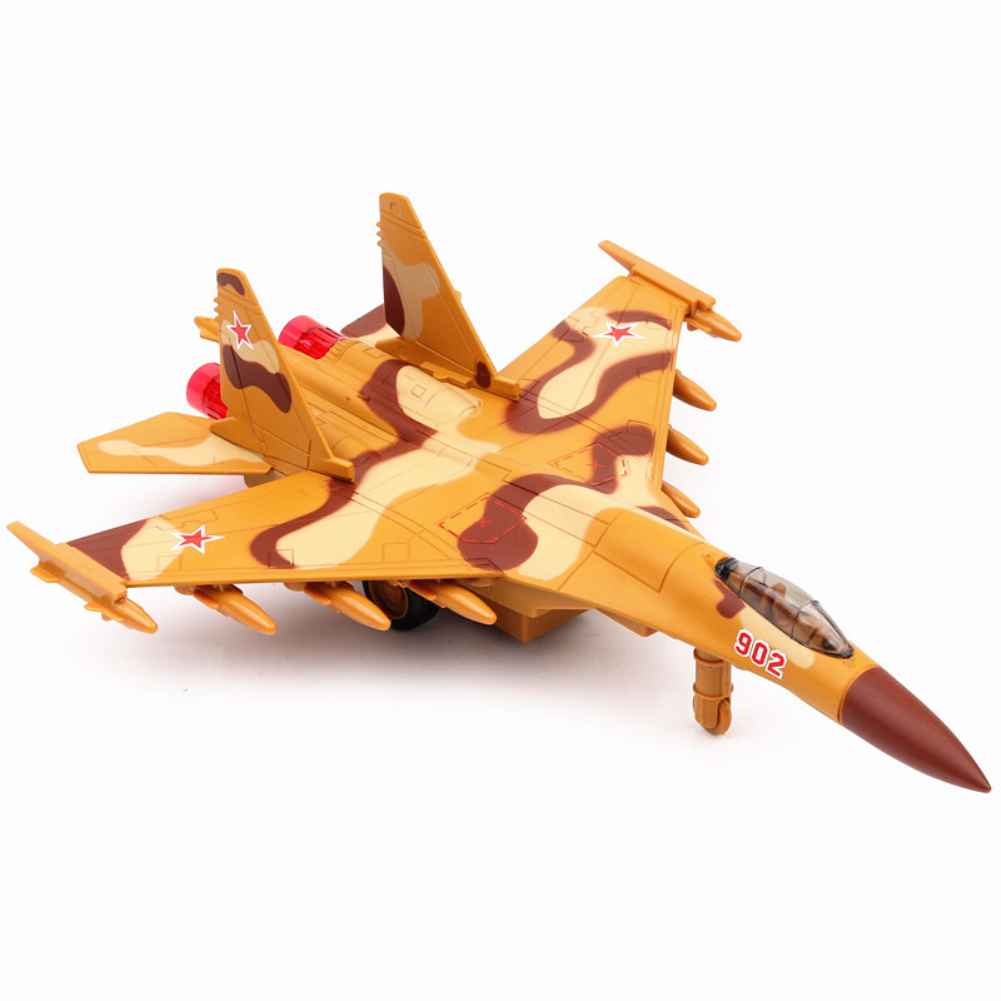 1/72 Simulation Russia Su-35 Fighter Plane Model Sound Light Function Christmas Gift Toy yellow