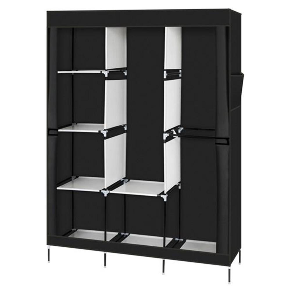 [US Direct] Portable Closet Wardrobe Clothes Rack 4-tier 8-rack W/3 Hangers 125*43.18*180cm