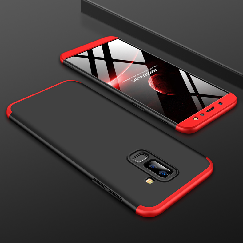 For Samsung A6 Plus 2018 Ultra Slim 360 Degree Non-slip Shockproof Full Protective Case Red black red
