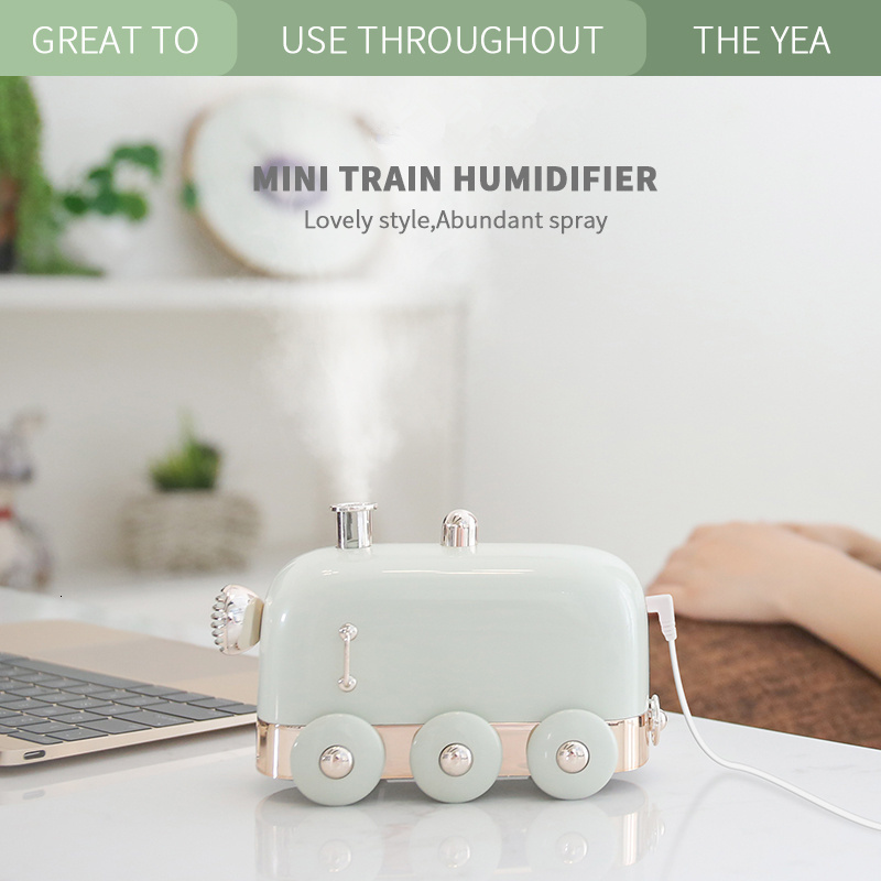 Air Humidifier with Night Light Retro Mini Train USB Aroma Air Diffuser Essential Oil Mist Maker green_162 * 86.2 * 98.25mm
