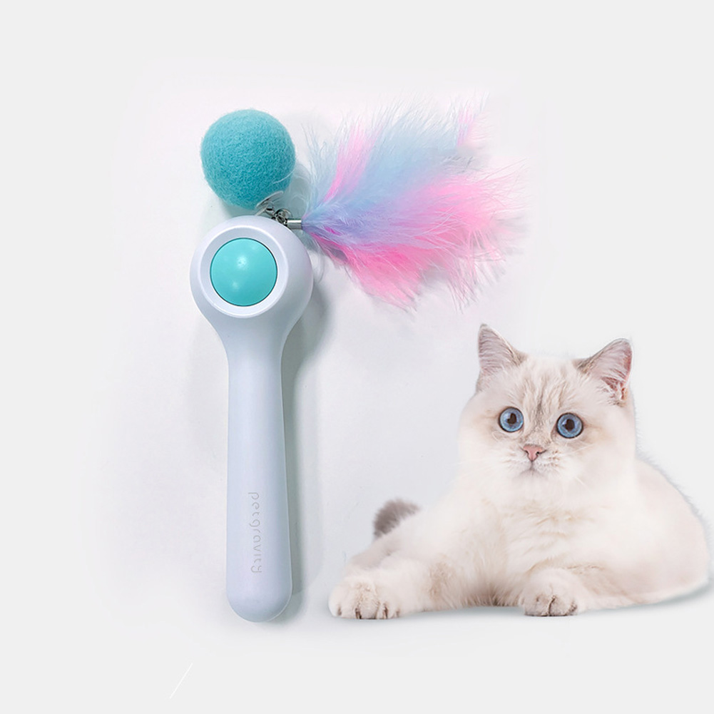 Cat Toys Gravity Automatic Telescopic Cat Training Interactive Feather Toy Fairy Stick blue_L