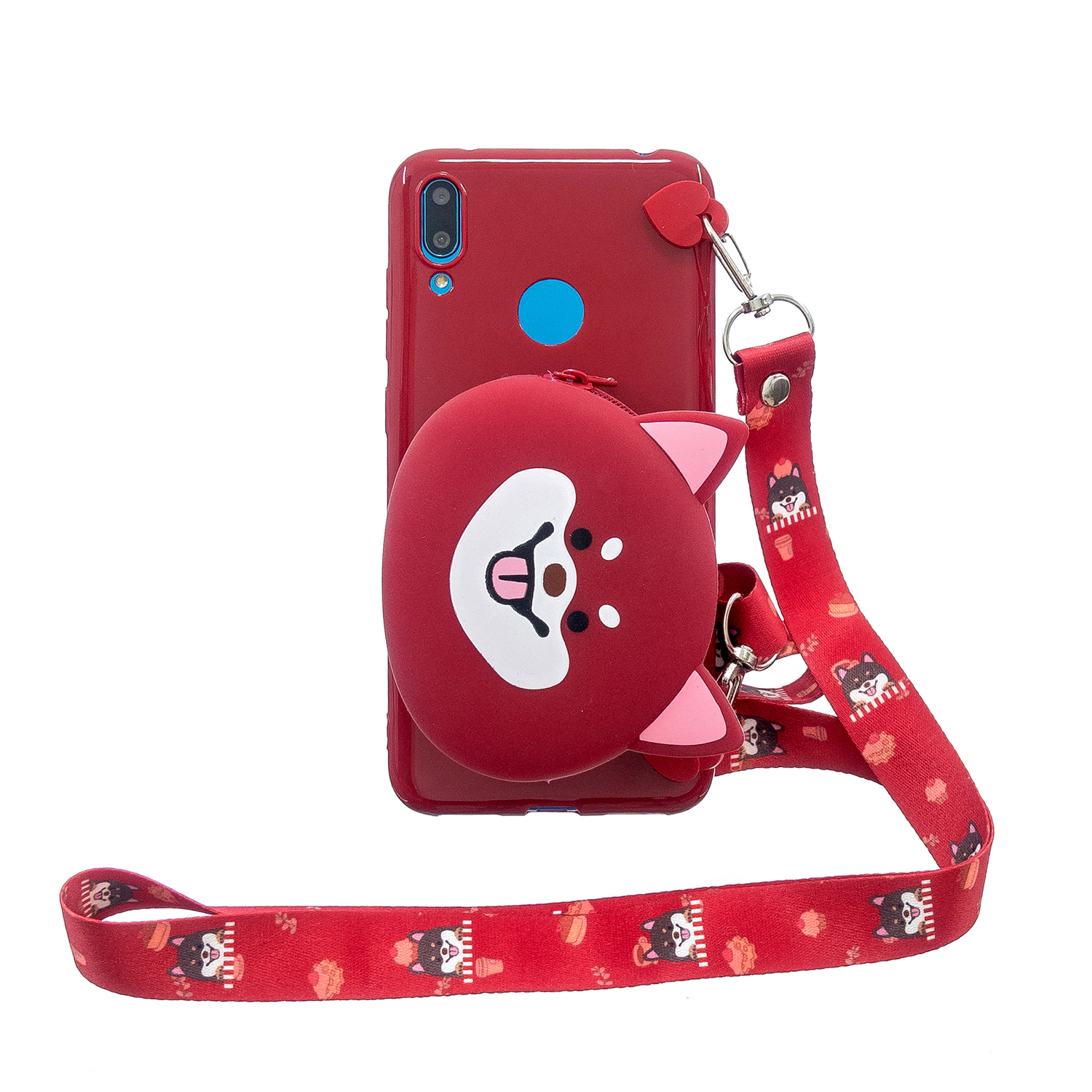 For HUAWEI Y6/Y7 Prime 2019 Cellphone Case Mobile Phone Shell Shockproof TPU Cover with Cartoon Cat Pig Panda Coin Purse Lovely Shoulder Starp  Red
