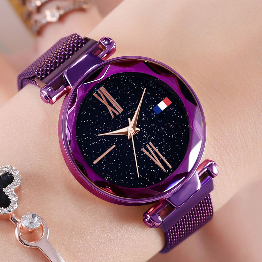 Women Fashion Simple Quartz Watch Chic Stainless Steel Watchband Wristwatch Ornament D5 purple Magnet net belt + blue and white red label