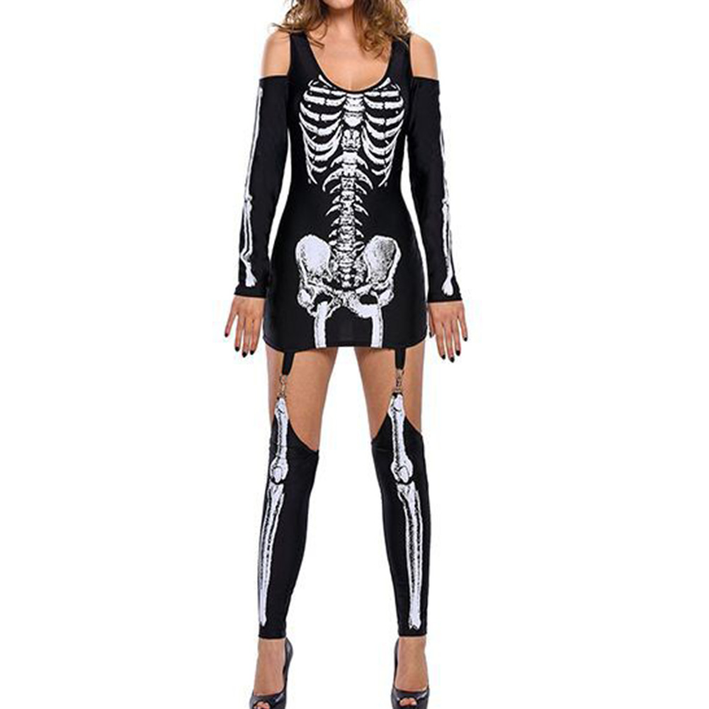 Masquerade Skeleton Print Sexy Off-Shoulder Halloween Costume Dark Performance Costume Annual Performance Costume black_XXL