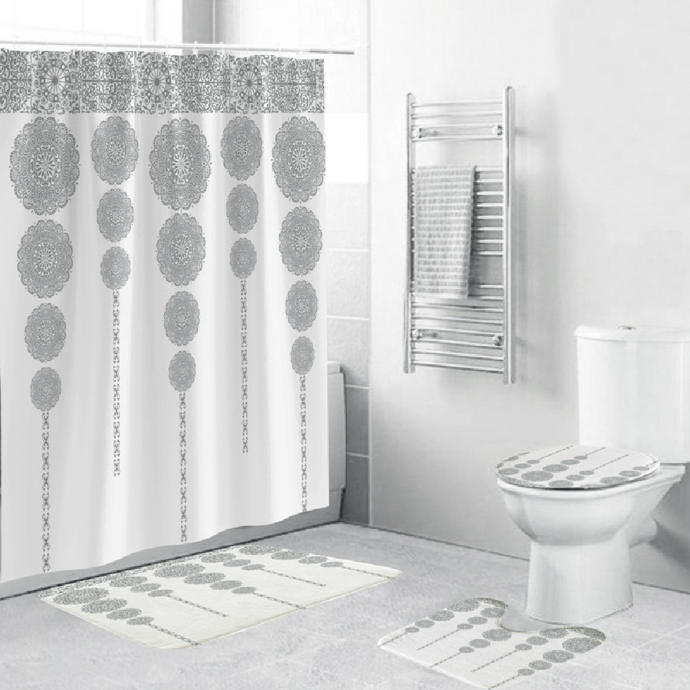 Shower  Curtain 180*180cm With Non-slip  Rug Toilet  Lid  Cover Bath  Mat For Bathroom yul-2158-pattern