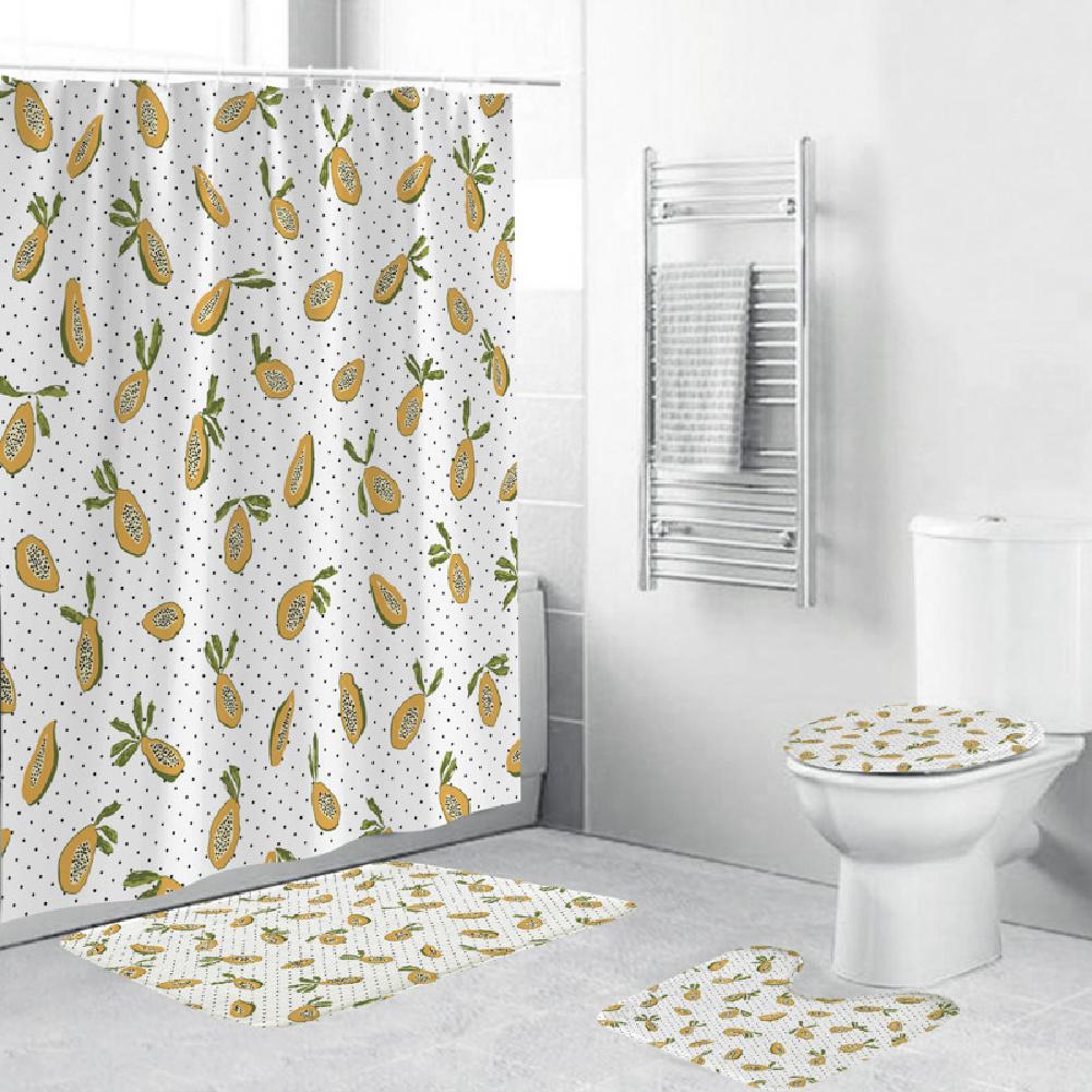 Shower  Curtain 180*180cm With Non-slip  Rug Toilet  Lid  Cover Bath  Mat For Bathroom yul-2172-Avocado