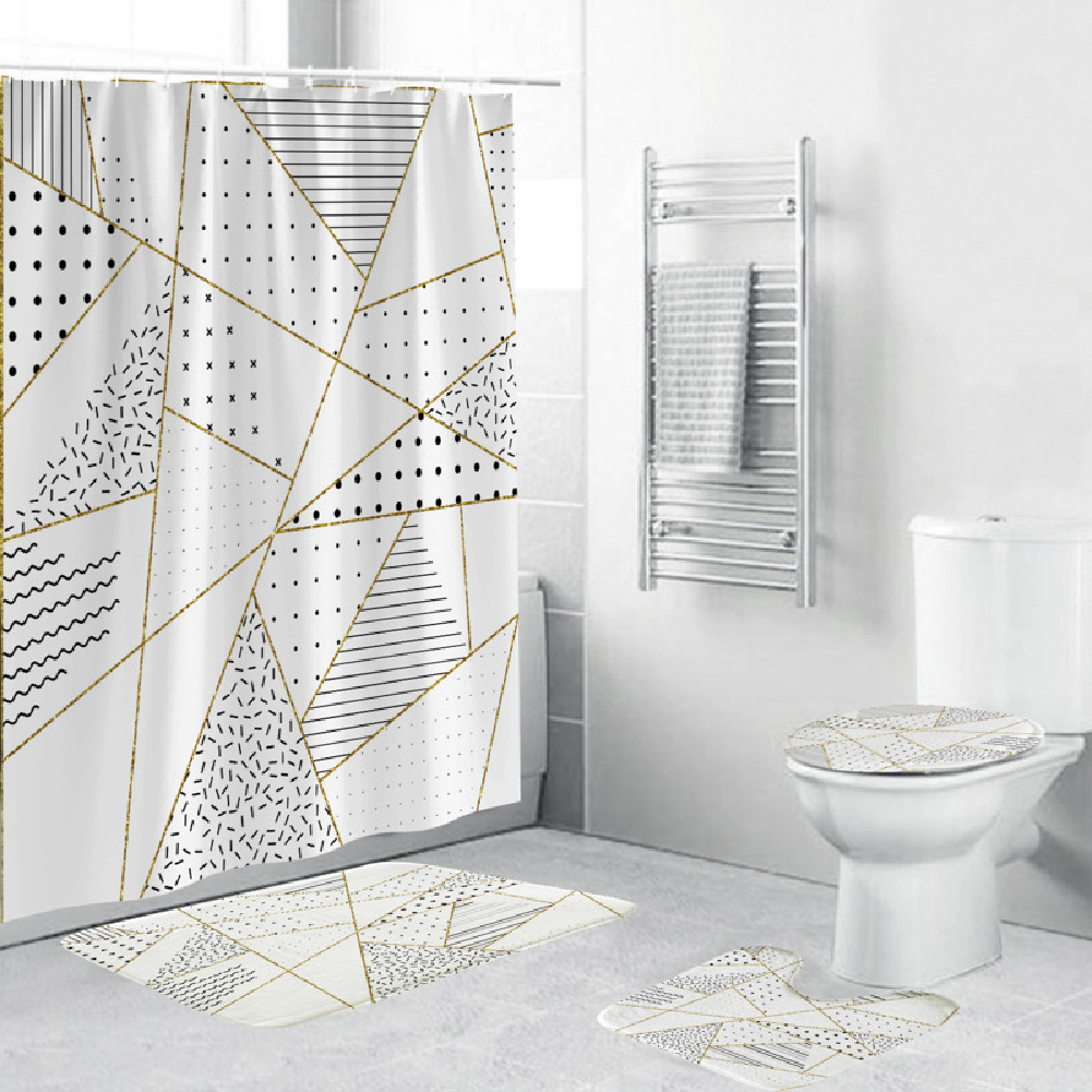 Shower  Curtain 180*180cm With Non-slip  Rug Toilet  Lid  Cover Bath  Mat For Bathroom yul-2159-geometry