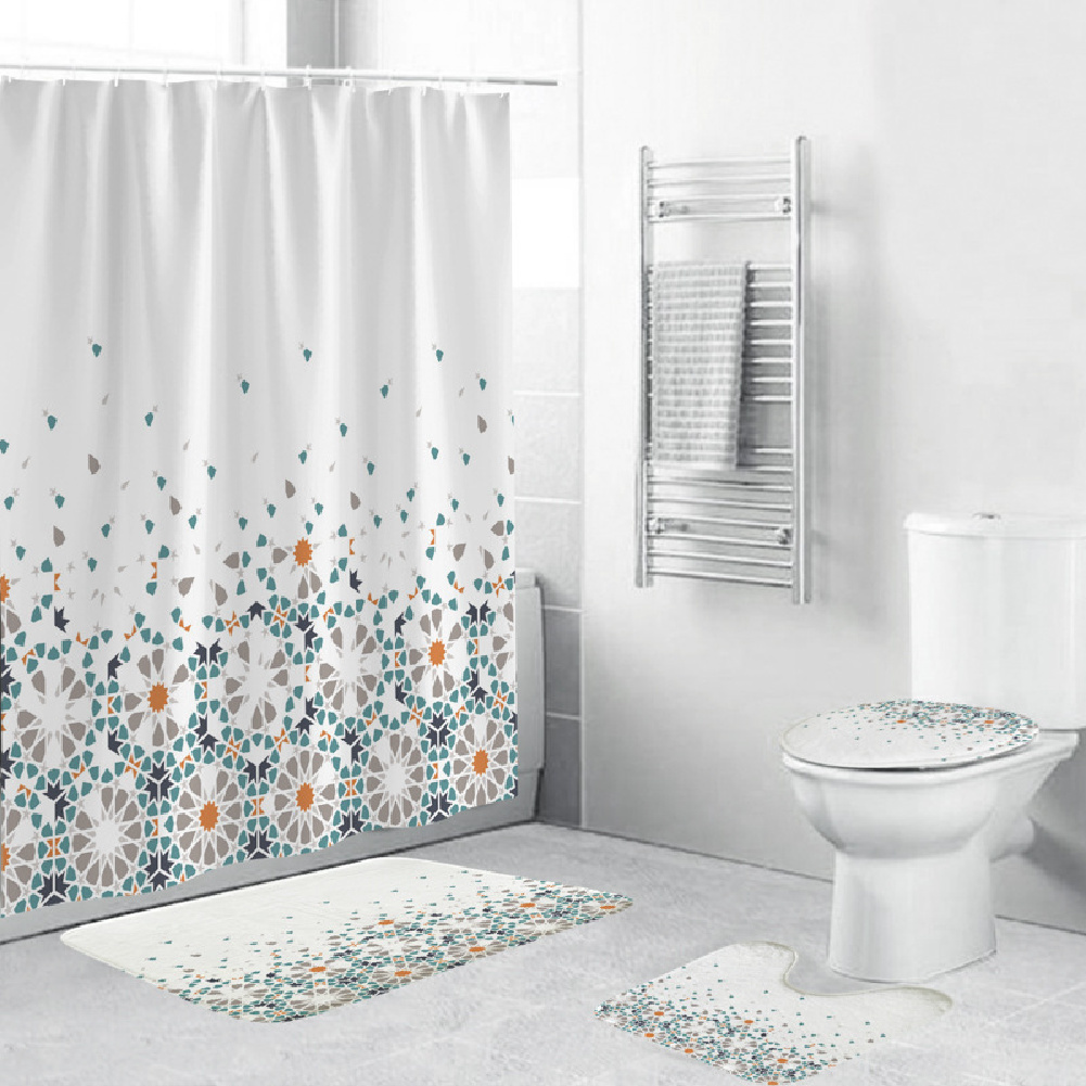 Shower  Curtain 180*180cm With Non-slip  Rug Toilet  Lid  Cover Bath  Mat For Bathroom yul-2160-geometric fade