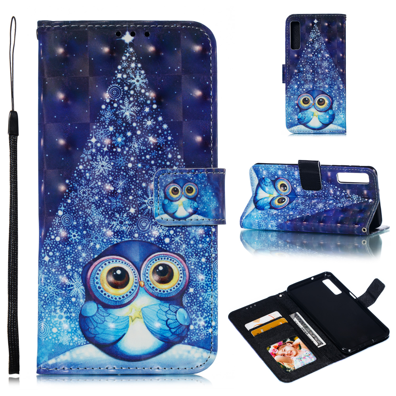 For Samsung A7 2018 3D Coloured Painted Leather Protective Phone Case with Button & Card Position & Lanyard Stage owl