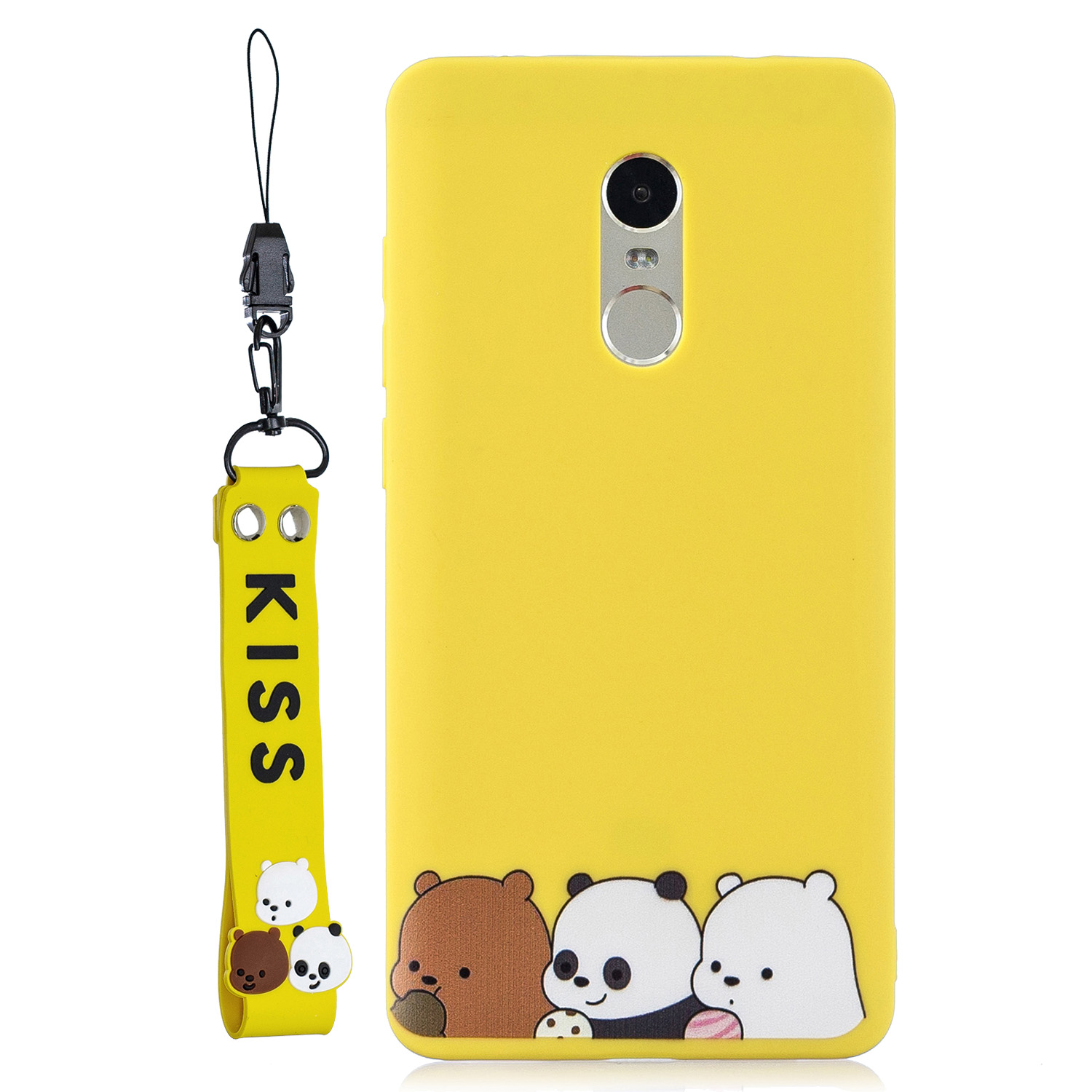 For Redmi note 4X/NOTE 4 Cartoon Lovely Coloured Painted Soft TPU Back Cover Non-slip Shockproof Full Protective Case with Lanyard yellow