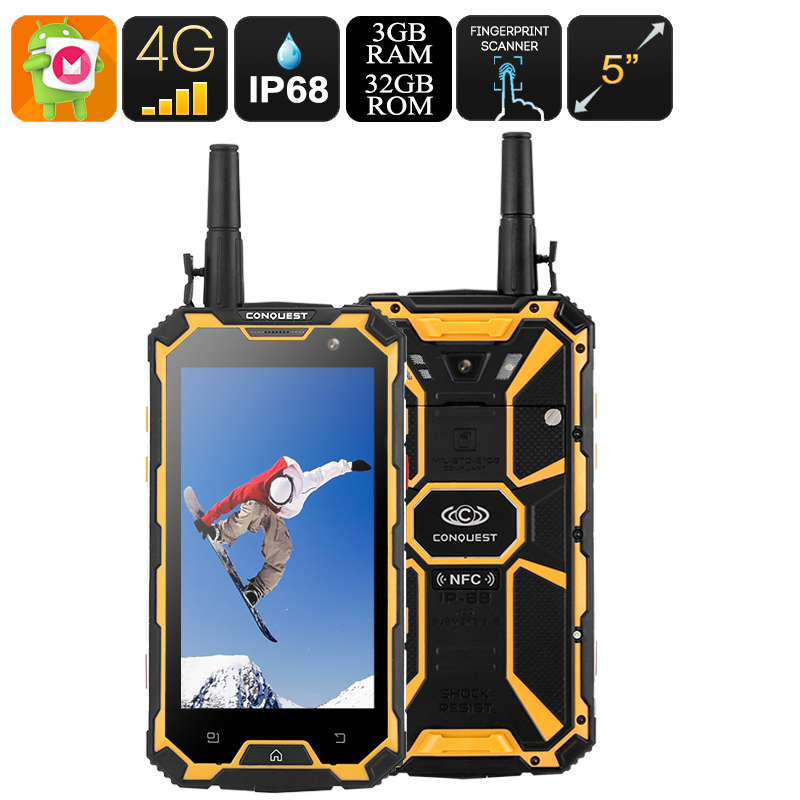Conquest S8 32GB Rugged Phone (Yellow)