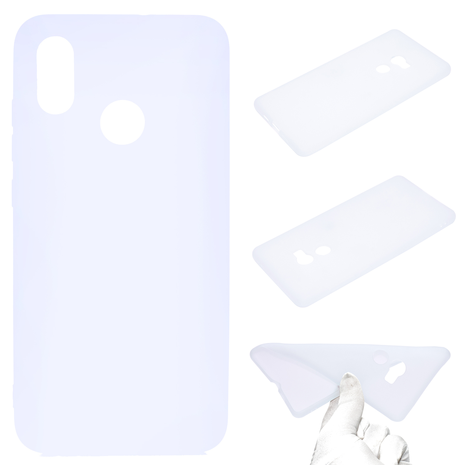 For HUAWEI Y6 2019 Lovely Candy Color Matte TPU Anti-scratch Non-slip Protective Cover Back Case white