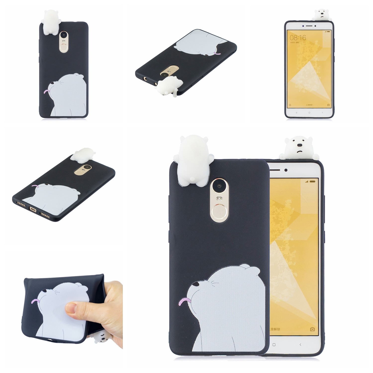 For XIAOMI Redmi NOTE 4X/NOTE 4 3D Cute Coloured Painted Animal TPU Anti-scratch Non-slip Protective Cover Back Case black