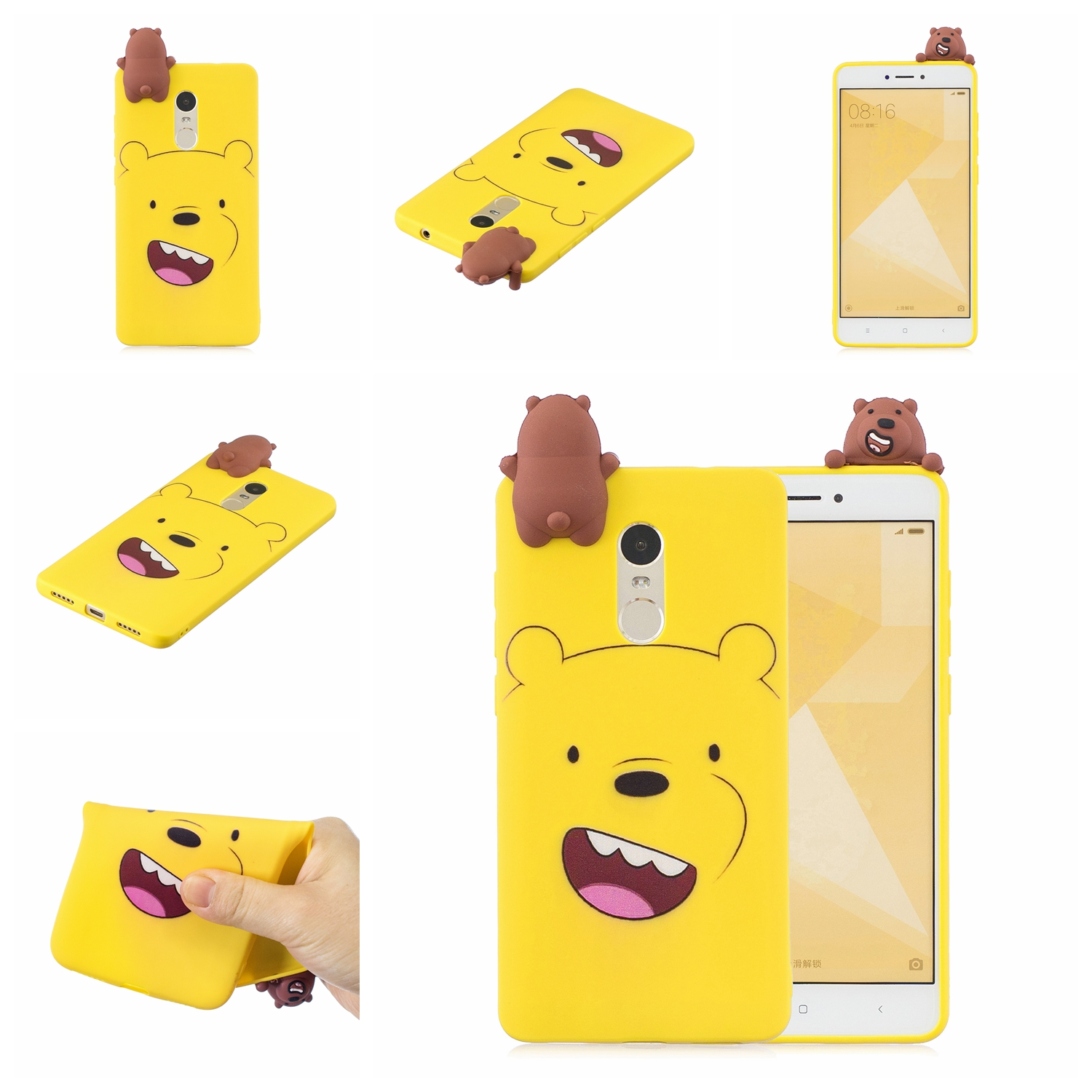For XIAOMI Redmi NOTE 4X/NOTE 4 3D Cute Coloured Painted Animal TPU Anti-scratch Non-slip Protective Cover Back Case yellow