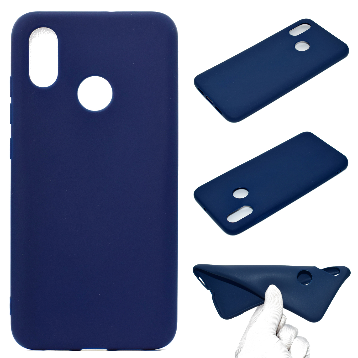 For HUAWEI Y6 2019 Lovely Candy Color Matte TPU Anti-scratch Non-slip Protective Cover Back Case Navy