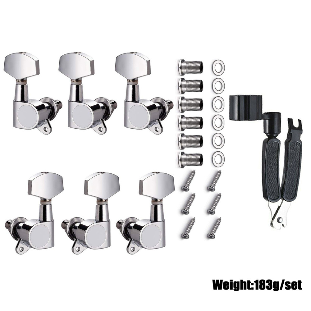 Guitar String Tuning Pegs Set Machine Heads Knobs Tuners Tuning Keys for Electric Acoustic Guitarra Parts Replacement Tool Silver